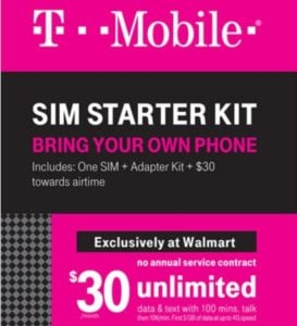 T-Mobile $30 month prepaid starter kit