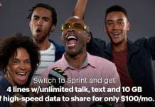 Spring Family Share Pack 4 Lines $100 10 GB per LIne