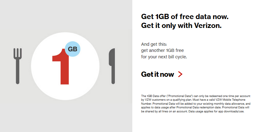 Verizon Thanksgetting 1GB Free Data Promotion