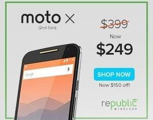 Republic Wirless Moto X 2nd Generation $249