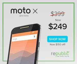 Republic Wirless Moto X 2nd Generation $249