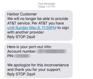 Harbor Mobile Sends Out Text Message Informing Customers Of Service Cancelation