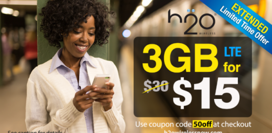 H2O Wireless 50 percent off first month promo