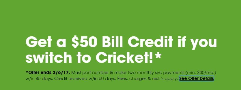 Switch To Cricket And Get A $50 Bill Credit