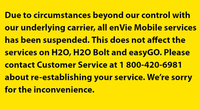 EnVie Mobile Abruptly Halts Service