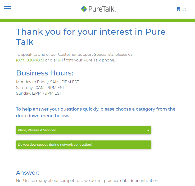 Pure Talk Claims No Data Prioritization Policy
