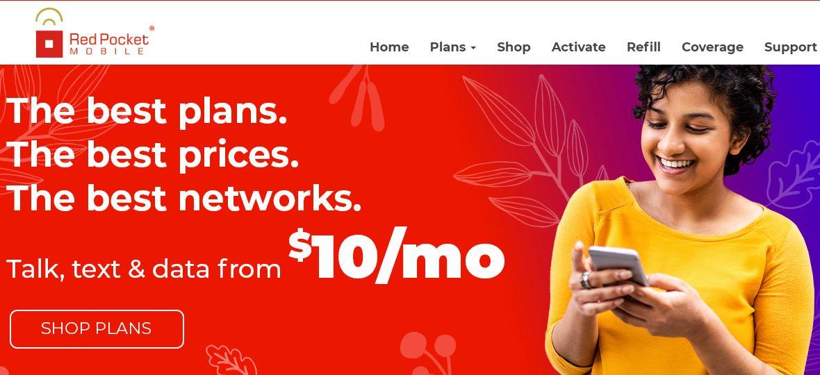 Red Pocket Mobile Website Screenshot
