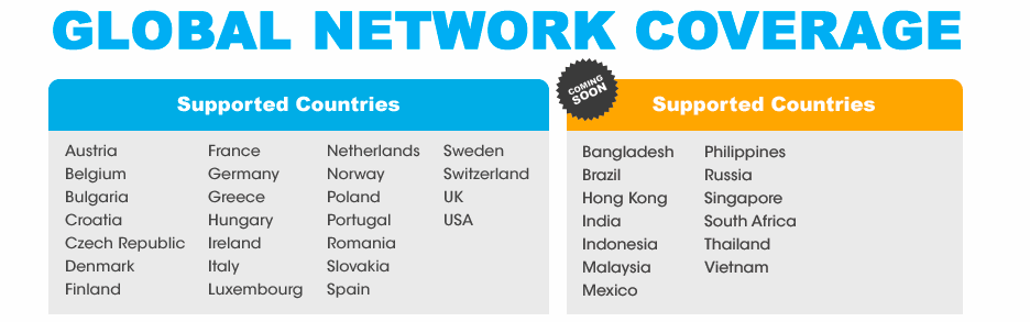 FreedomPop Global SIM Plan Supported Countries