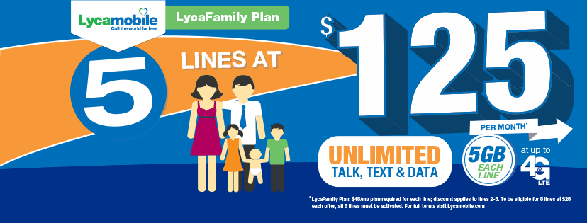 Lycamobile Family Plan Offering