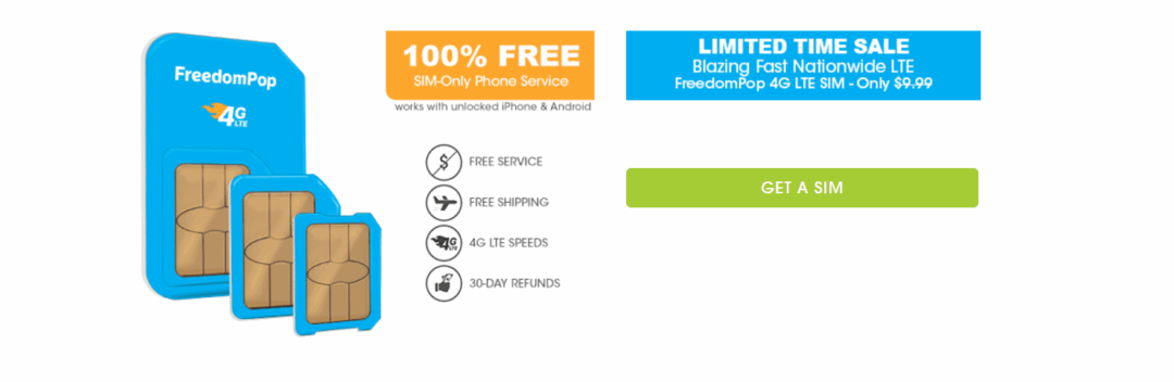 FreedomPop Offering 99c SIM With Free Trial Of Unlimited