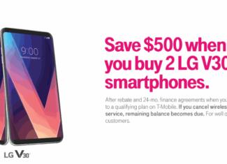 Limited Time Offer T-Mobile LG V30 BOGO