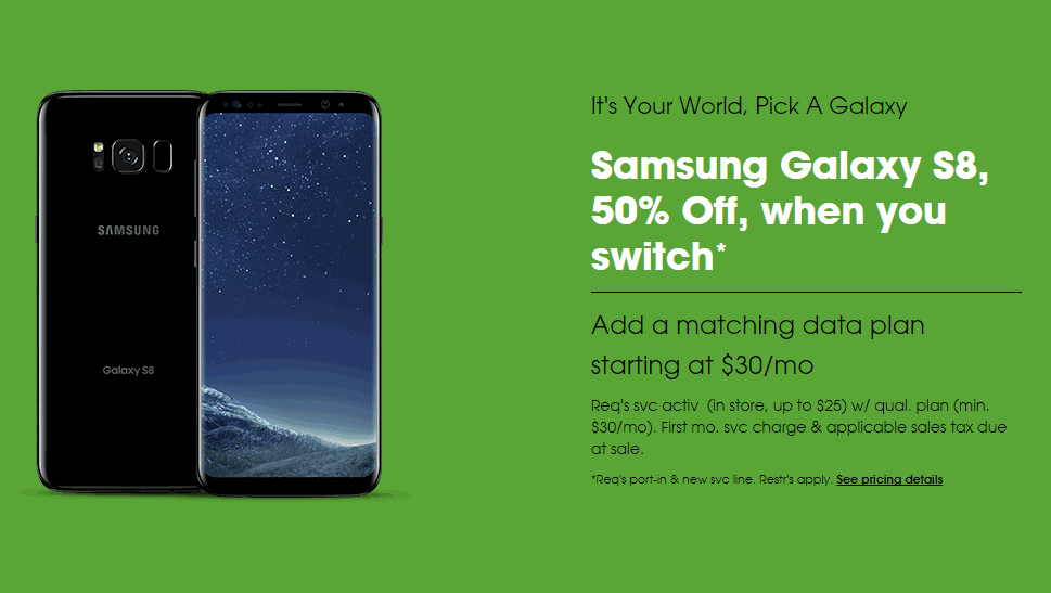 Cricket Wireless Samsung Galaxy S8 Half Off