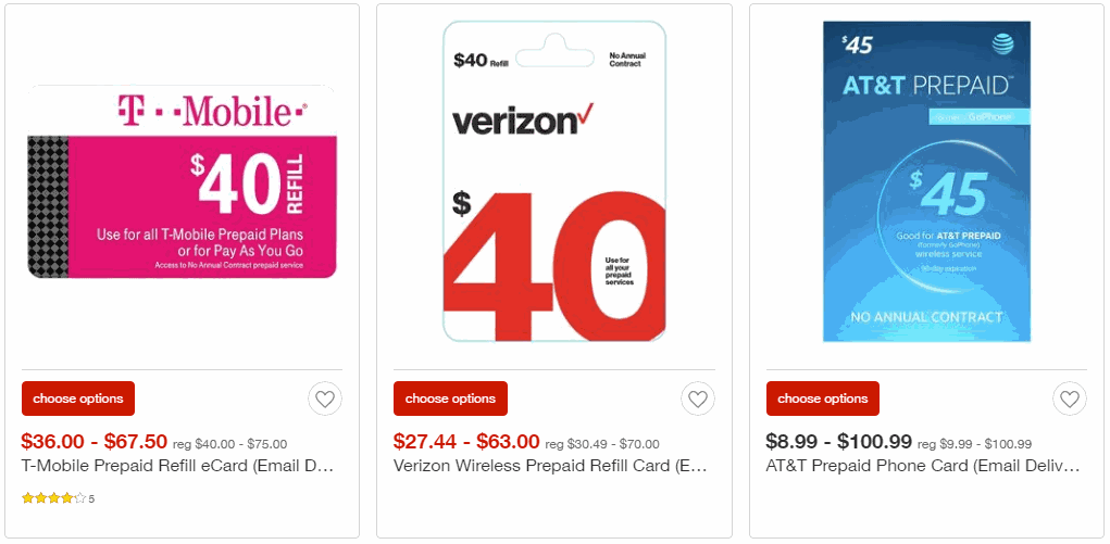 Prepaid wireless refill cards from select providers are 10 for T mobile refill