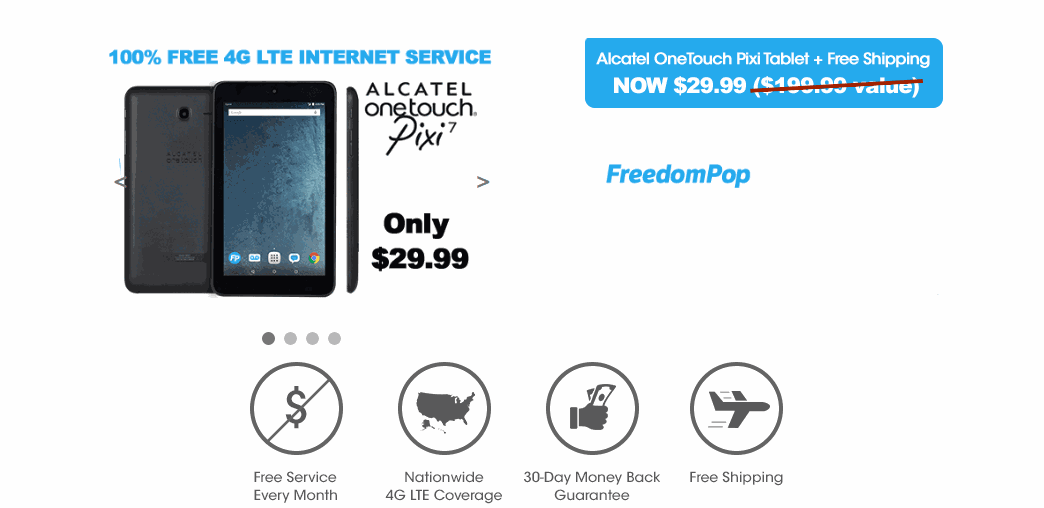 FreedomPop Now Selling The Alcaltel OneTouch Pixi Tablet