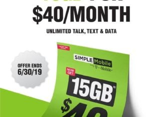 Simple Mobile Limited Time Offer Is 15GB LTE Data For $40