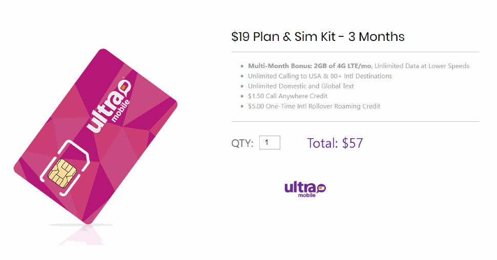 Ultra Mobile Is Now Selling Multi-Month 3 Month Plans Like The One Pictured Above Through Its Website
