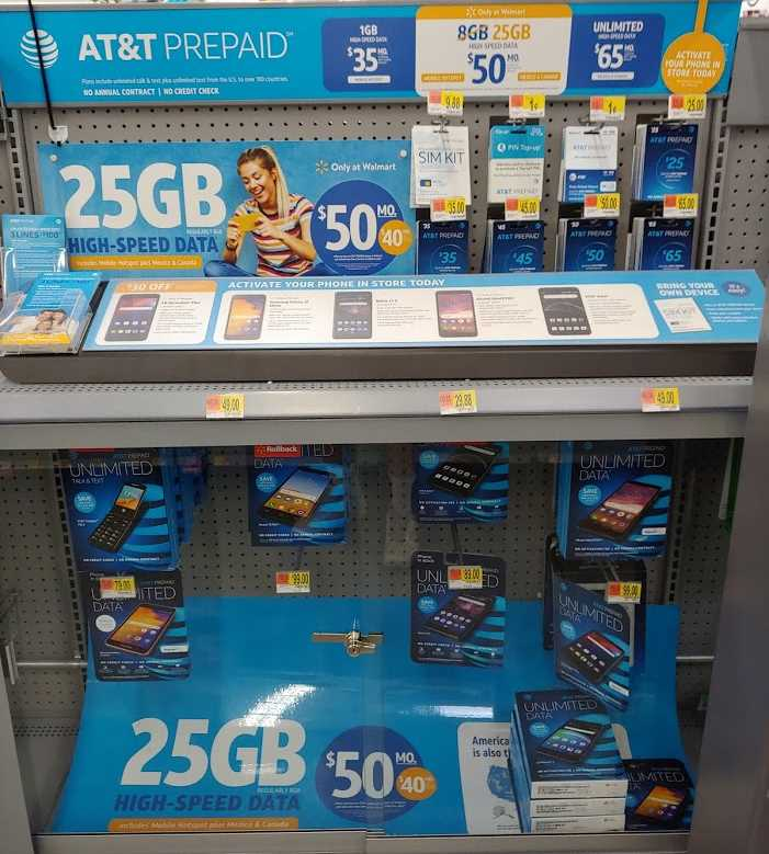 AT&T's Prepaid Bonus Data Offer On Display At A Lawrence, KS, Walmart On 6/10/2019 (Photo Via Wave7 Research)