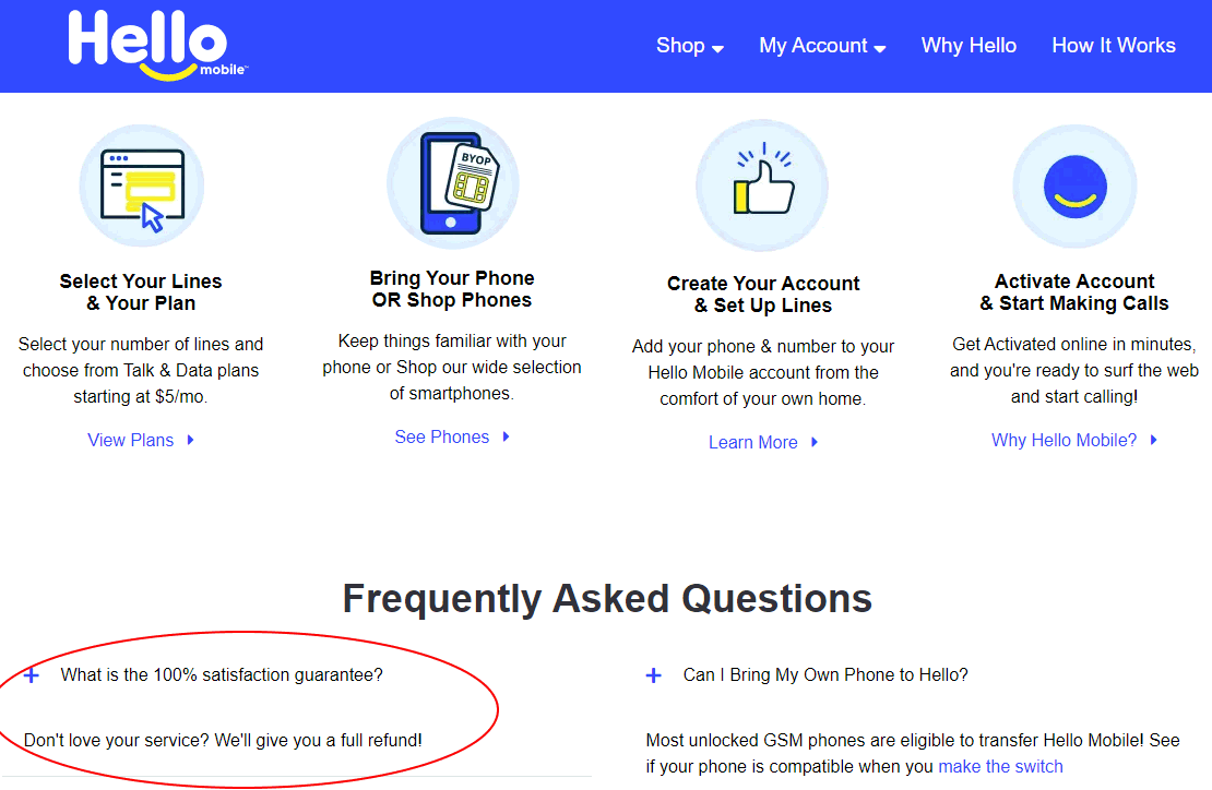 Hello Mobile Website FAQ's State There Is A 100% Satisfaction Guarantee Policy