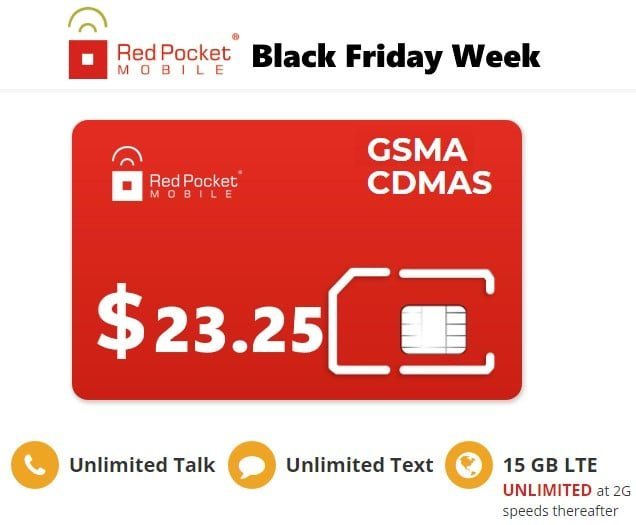 Red Pocket Mobile Plans Discounted For Black Friday & Cyber Monday 2019