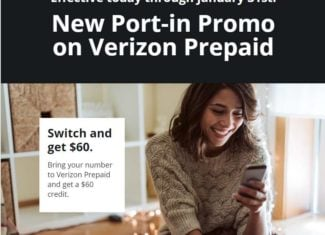 Verizon Prepaid Now Offering $60 Account Credits To New Customers That Port-In