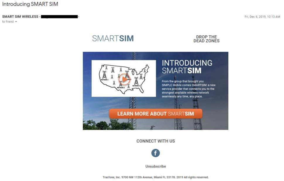 Email Tracfone Sent Out Announcing SmartSIM