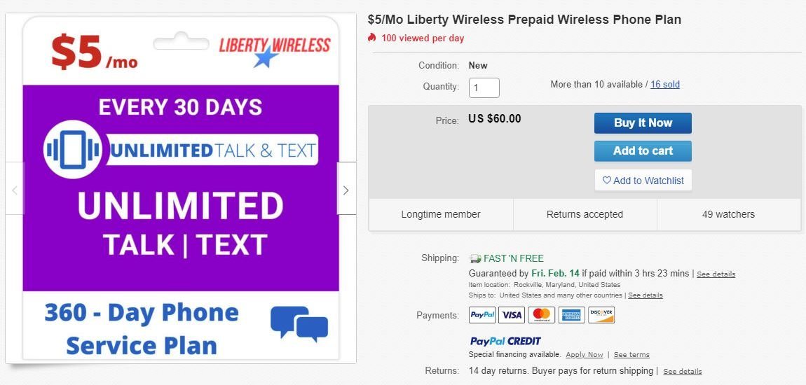 Liberty Wireless eBay Annual Plans Start At $5/Month