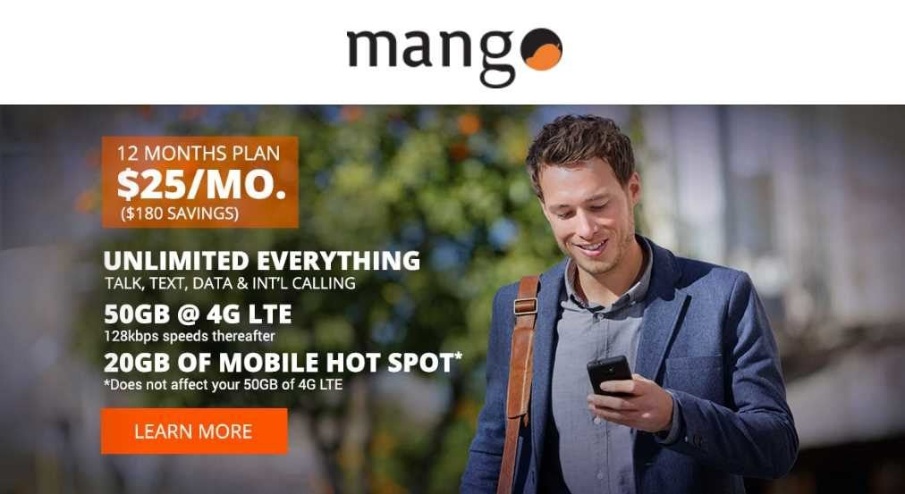 Mango Mobile Launches Wireless Plan With 50GB Of 4G LTE Data For $25/Month