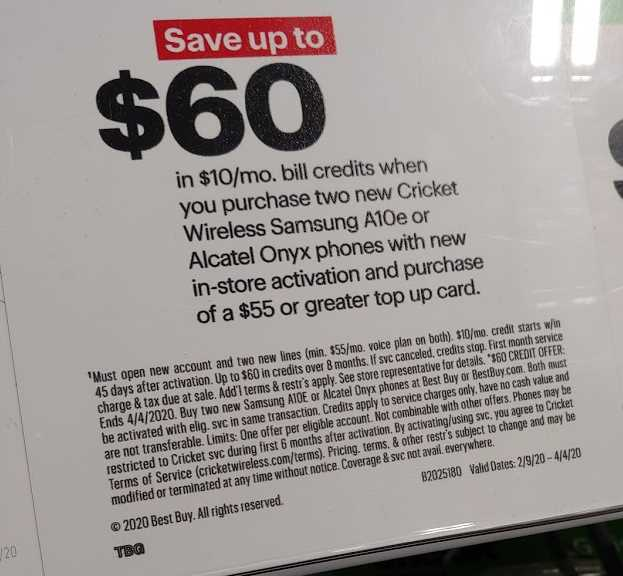 Save Up To $60 In Cricket Wireless Bill Credits With Purchase Of Alcatel ONYX Or Samsung A10e At Best Buy (Photo Wave7 Research)