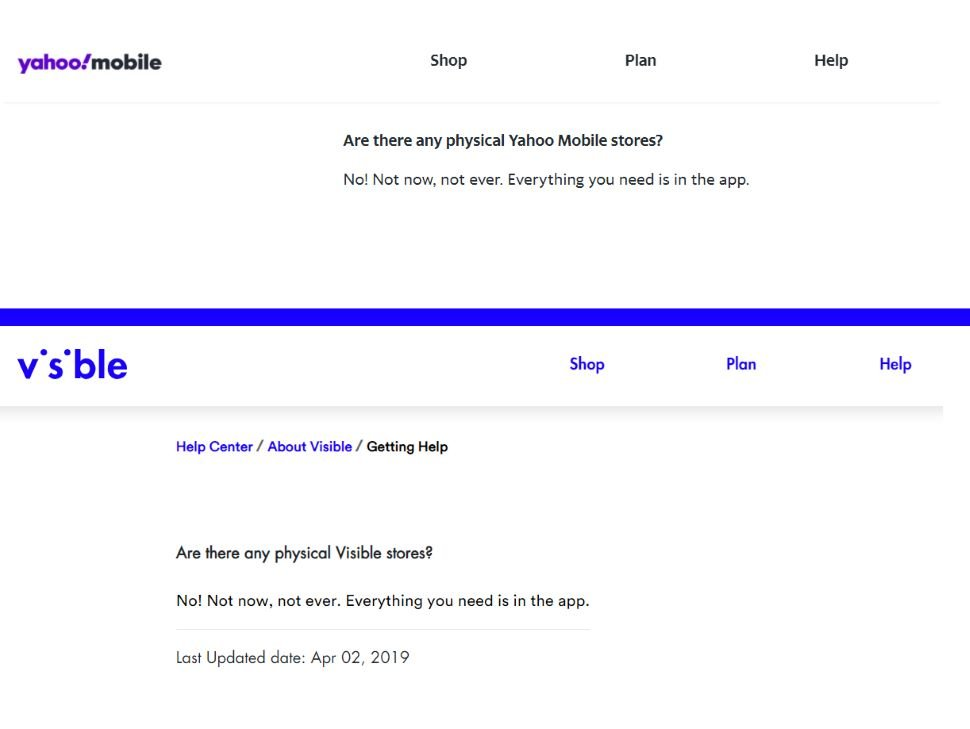Yahoo Mobile Visible FAQ Comparison