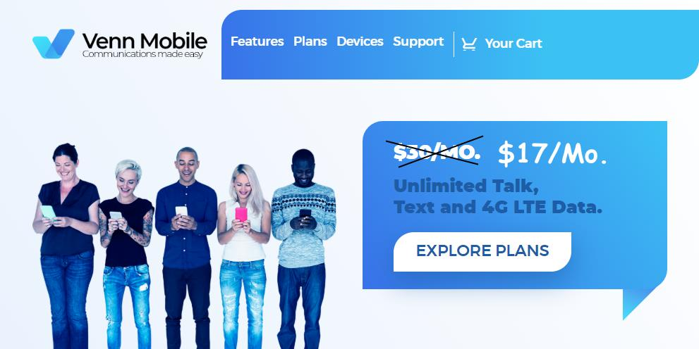 Venn Mobile Offering Unlimited Plan For $17/Month