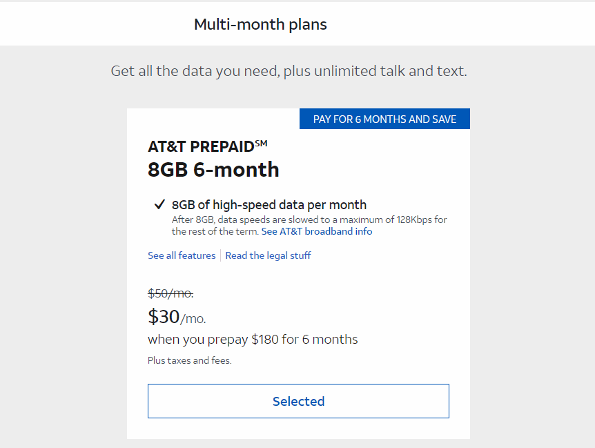 AT&T Prepaid New 6 Month Discount Plan Offer
