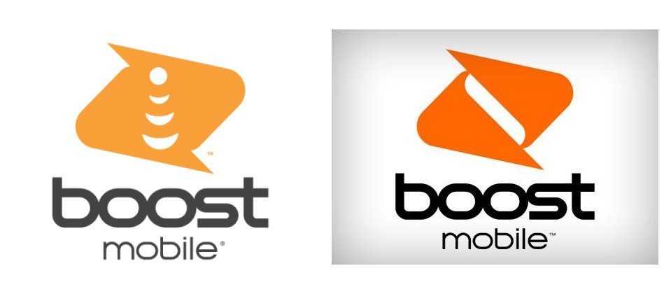 Boost Mobile's Updated Logo Under DISH Ownership (Updated Logo On Left, Old On Right)