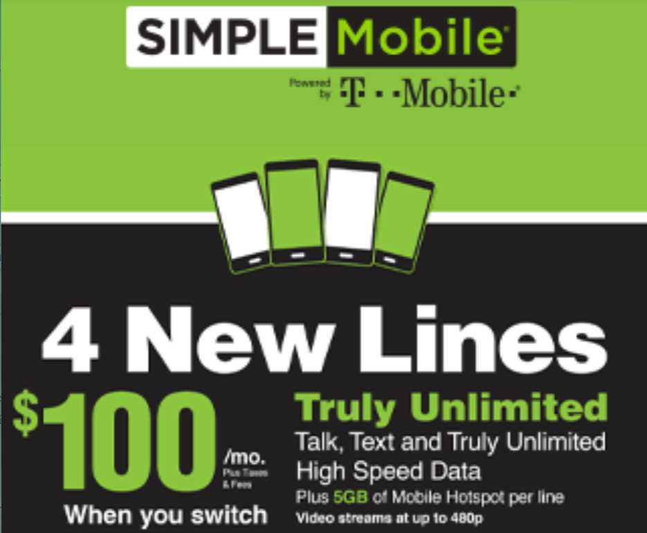 Simple Mobile Offers 4 Unlimited Lines For $100