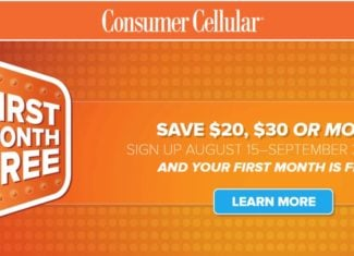 Consumer Cellular Aug-Sept 2020 One Month Free Promo