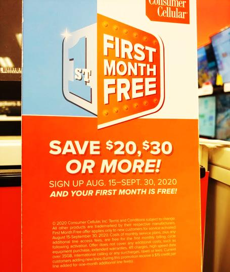 Consumer Cellular Free Month Offer, Seen At KS Target (Photo Via Wave7 Research)