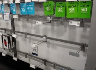 AT&T And Cricket Wireless Near Empty Display Racks At Best Buy (Photo Via Wave7 Research)