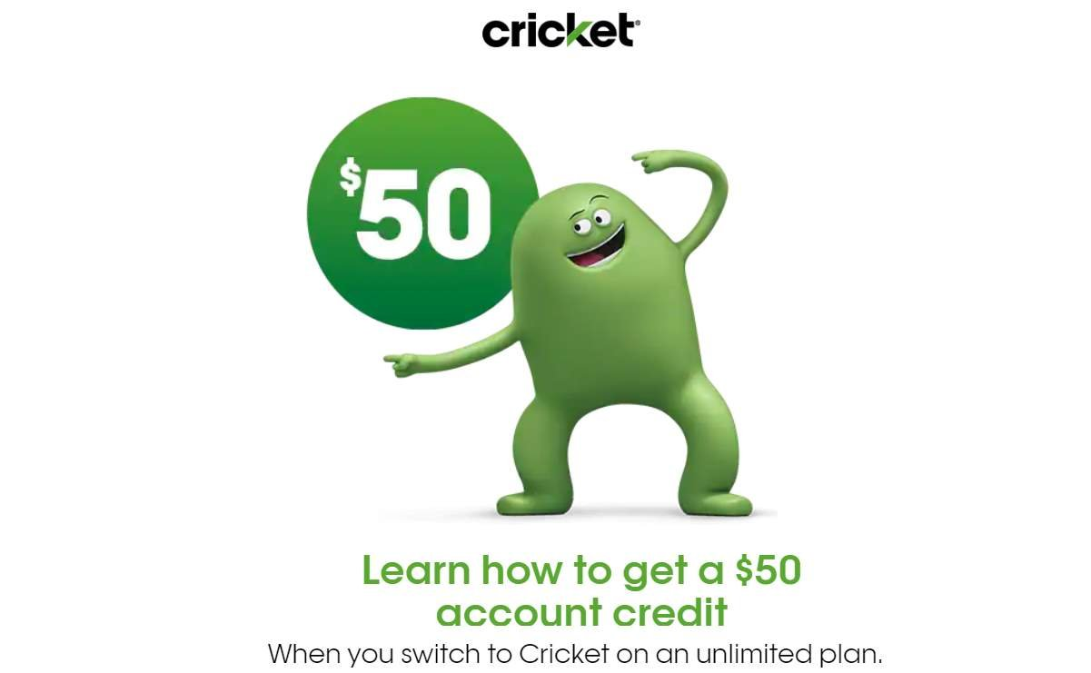 Cricket Wireless $50 Switcher Account Credit Offer