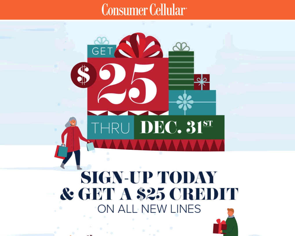 Consumer Cellular $25 Account Credit Holiday 2020 Promo Offer