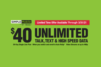 Simple Mobile $40 Unlimited Plan Dealer Exclusive Promo
