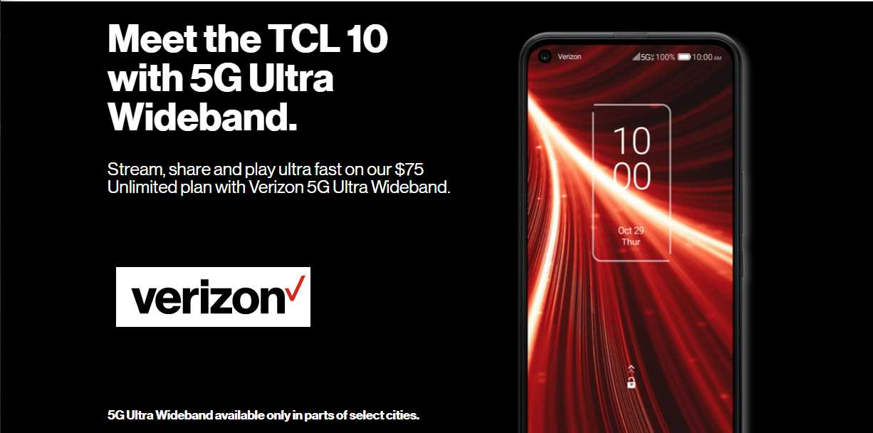 Verizon Prepaid Has A New Ultra Wideband Unlimited Plan Highlighted Alongside TCL 10 UW Phone