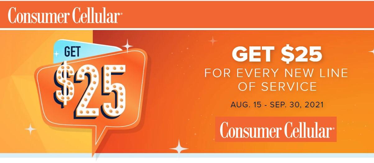 Consumer Cellular Summer 2021 New Line $25 Promo Credit